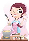 Teenager,Adult,261894,Females,Women,Teenage Girls,Stove,Girls,,Cartoon,Cheerful,Illustration,Cooking,Food,Domestic Room,Soup,Kitchen,Chef,Vector,Domestic Kitchen,Eating,Tasting,Smiling
