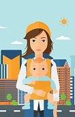 One Person,Cartoon,City,Illustration,People,Family,Flat,Plan,Road,Built Structure,Plan,Vector,Design
