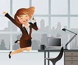 Built Structure,Chair,Desk,Success,Technology,Indoors,Office,Domestic Room,Cup,Cheerful,Mobile Phone,Occupation,Jumping,Laptop,Backgrounds,Adult,Color Image,Good News,Recruitment,Office Chair,Illustration,Employment And Labor,Women,Vector,Wireless Technology,Desk Lamp,Background,Promotion - Employment