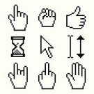 Cursor,Human Hand,Thumbs Up,Pixelated,Computer Icon,Pointing,Hourglass,Obscene Gesture,Vector,Fist,Rock And Roll Sign,Arrow Symbol,Palm,Index Finger,Ilustration,White,Black Color,Stop Gesture,Vector Icons,Technology,Technology Abstract,Technology Symbols/Metaphors,Illustrations And Vector Art,Design Element