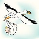 Baby,Stork,Newborn,Bird,New Life,Vector,Delivering,Flying,Cloudscape,Carrying,Cute,Smiley Face,Celebration Event,Child,Love,Cheerful,Cloud - Sky,Wing,Happiness,Blanket,Sky,Beak,Concepts And Ideas,Illustrations And Vector Art,Smiling,Vector Cartoons,Lifestyle,Families