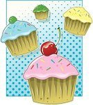 Cupcake,Pop Art,Candy,Cooking,Gum Drop,Cherry,Sprinkles,Ilustration,Vector Cartoons,Junk Food/Fast Food,Halftone Pattern,Baking,Illustrations And Vector Art,Indulgence,Food And Drink,Gourmet