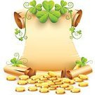 age-old,Patrick,Gyrate,102089,congratulatory,eps10,Cut Out,Fairy Tale,Flower,Sheet,Day,Plant,Holiday - Event,Greeting Card,Paper,Religious Saint,Document,Illustration,Leaf,Greeting,Clover,Swirl,Coin,Script,Antique,Scroll,Backgrounds,St. Patrick's Day,Manuscript,Page,Gold,Twisted,Scroll,Vector,Non-Western Script,Bundle,Saint,Text,Gold Colored,Floral Pattern,White Color,Green Color,White Background