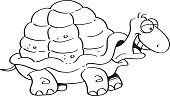 Humor,Slow,Black And White,Computer Graphics,Line Art,Animal Wildlife,Animal,Cute,Cartoon,Coloring,Illustration,Mascot,Tortoise Shell,Outline,Happiness,Computer Graphic,Clip Art,Reptile,Tortoise,Fun,Vector,Turtle,Animal Shell,Smiling