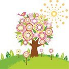 Tree,Retro Revival,Bird,Flower,Circle,Sun,Springtime,Vector,Floral Pattern,Abstract,Green Color,Ilustration,Modern,Summer,Blossom,Season,Growth,Multi Colored,Ornate,Plant,Grass,Nature,Leaf,Sunlight,Glowing,Design Element,Natural Pattern,Tree Trunk,Aging Process,Design Objects,Beauty In Nature