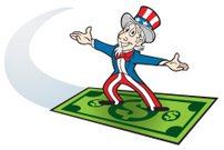 Uncle Sam,Patriotism,Dollar,Surfing,US Paper Currency,One Dollar Bill,Fourth of July,Paper Currency,Cartoon,Savings,Wealth,American Culture,Abundance,Red,White,USA,Flying,Happiness,Blue,Business,Star Shape,Dollar Sign,Banking,Striped,Industry,Government,Vector Cartoons,Business Symbols/Metaphors,Illustrations And Vector Art,Pride,Cheerful,Finance