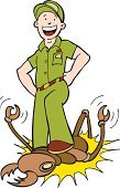 Exterminator,Termite,Insect,Pest,Stamping Feet,Crushed,Cartoon,Killing,Vector,Ilustration,Working,Large,Hat,Illustrations And Vector Art,Vector Cartoons,Uniform,Computer Graphic,Smiling,Professional Occupation