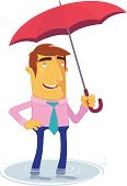 Men,Umbrella,Business,Flood,Cartoon,Rain,Parasol,Puddle,Weather,Characters,Vector,Storm,Businessman,Safety,Ilustration,Autumn,Concepts,Design,Clip Art,Anticipation,Digitally Generated Image,proctection,Wet,Illustrations And Vector Art,Business,Concepts And Ideas