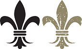 Fleur De Lys,French Culture,Grunge,Symbol,Vector,New Orleans,Design Element,Ilustration,Old-fashioned,Clip Art,Distressed,Damaged,marti gras,Old