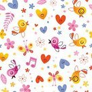 Celebration,Romance,Flower,Background,Day,Love,Cute,Wallpaper,Illustration,Nature,Animal Markings,Flying,Seamless Pattern,Bird,Decoration,Backgrounds,Vector,Pattern,Floral Pattern,White Color,Fabric Swatch,Textile