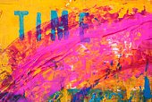 Art,Paintings,Painted Image,Pink Color,Time,Single Word,Modern,Magenta,Turquoise,Acrylic Painting,Abstract,Individuality,Creativity,Backgrounds,Yellow,No People,Text,Ilustration,Visual Art,Arts Abstract,Arts And Entertainment,Arts Backgrounds,Art Product,Vibrant Color,Textured,Colors