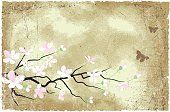 Branch,Blossom,Butterfly - Insect,Backgrounds,Grunge,Flower,Vector,Brown,Ilustration,Clip Art,Textured Effect
