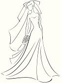 Elegance,Love,Bouquet,Vertical,Bride,Wedding,Beauty,Adult,Young Adult,Color Image,Veil,Wedding Dress,Illustration,Line Art,Women,Young Women,Vector,Beautiful People,Beautiful Woman