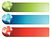 Banner,Internet,Web Page,Business,Globe - Man Made Object,Green Color,Backgrounds,Red,Blue,World Map,Map,Vector,Ilustration,The Americas,Concepts And Ideas,Business