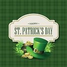 Patrick,Celebration,Luck,Retro Styled,No People,Holiday - Event,Leprechaun,Irish Culture,Illustration,Leaf,Symbol,Clover,Clover Leaf Shape,Ribbon - Sewing Item,Coin,Currency,March - Month,Four Leaf Clover,Backgrounds,St. Patrick's Day,March,Gold,Vector,Design,Gold Colored,Greeting,Pattern,Hat,Green Color