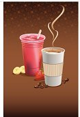 Smoothie,Coffee - Drink,Disposable Cup,Coffee Cup,Latte,Coffee Bean,Cup,Mocha,Take Out Food,Cappuccino,Fast Food,Strawberry Smoothie,Banana,Banana Smoothie,Backgrounds,Strawberry,Drinking Straw,Cafe Macchiato,Copy Space,Steam,Food And Drink,Illustrations And Vector Art,Vertical,Drinks,Fruits And Vegetables,Vector Backgrounds,Espresso,Brown