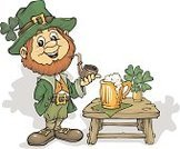 Leprechaun,Irish Culture,Mascot,Beer Bottle,Beer - Alcohol,Clover,Pipe,Clip Art,Luck,Celebration,Ilustration,Holidays And Celebrations,Pencil Drawing,Holiday,Alcohol,Illustrations And Vector Art,Food And Drink,Patrick's Day,hand drawing,Drawing - Art Product