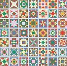 Quilt,Geometric Shape,Pattern,Craft Product,Square Shape,Square,Multi Colored,Design,Vector,Computer Graphic,Ilustration,American Culture,Rustic,Digitally Generated Image,Clip Art,No People,Arts Backgrounds,Isolated Objects,Arts And Entertainment,Illustrations And Vector Art