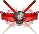 Pool Game,Pool Cue,Eight Ball,Skull and Crossbones,Pirate Flag,Banner,Sports Symbols/Metaphors,Swirl,Sports And Fitness