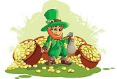 Celebration,Humor,Republic of Ireland,Cut,Art And Craft,Day,Art,Cute,Painted Image,Holiday - Event,Cartoon,Irish Culture,Illustration,Cutting,Happiness,Celtic Music,Magic,Gold,Arts Culture and Entertainment,Magic Trick,Fun,Vector,Shiny,Sitting,Gold Colored,Smiling,Hat,Green Color