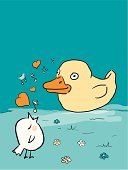 Bird,Singing,Rubber Duck,Animal,Humor,Cartoon,Drawing - Art Product,Problems,Relationship Difficulties,Flower,Concepts,Love,unrequited,Toy,Two Animals,Outdoors,Heart Shape,Rejection,Confusion,Standing,Orange Color,Looking,hand drawn,Feelings And Emotions,Animals And Pets,Calling,Plastic,Illustrations And Vector Art,Vertical,misguided,Concepts And Ideas,Birds,Blue,White,Copy Space,Vector,Artificial,Ilustration