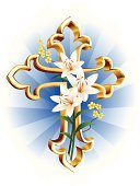 Cross,Cross Shape,Lily,Christianity,Religion,Flower,Resurrection,Backgrounds,Spirituality,Vector,Gold Colored,Gold,Blue,White,Design,Decoration,Symbol,Elegance,Ornate,Green Color,Ilustration,Yellow,Bouquet,Holiday,Beauty,Leaf,Art,Season,Plant,Shiny,Springtime,Holidays And Celebrations,Petal,Holiday Symbols,Inflorescence,Brightly Lit,Image,Stem,Holiday Backgrounds,Branch,Easter,Cut Flowers,Style