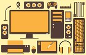 Computer,Computer Keyboard,Vector,Computer Mouse,Video Conference Camera,Computer Monitor,Joystick,Pattern,Speaker,Computer Printer,Backgrounds,Orange Color,Headphones,Modem,Cable,PC,Group of Objects,Design,Illustrations And Vector Art