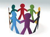Friendship,Paper Chain,Teamwork,Holding Hands,Multi-Ethnic Group,Unity,Team,Group Of People,Harmony,Connection,Global Village,Communication,Ethnicity,Vector,Agreement,Colors,Attached,Multi Colored,Ilustration