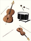 Violin,Drum,Cello,Flute,Musical Instrument,Drumstick,Bass Drum,Vector,Music,Percussion Instrument,Violin Family,Group of Objects,Wind Instrument,Silver - Metal,Musical Instrument String,String Instrument,Single Object,Ilustration,Wood - Material,Metal,Black Color,Bow,Small Group of Objects,Shiny,White,Isolated On White,Music,Isolated-Background Objects,Objects/Equipment,Isolated Objects,Arts And Entertainment,Classic