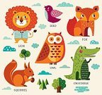 268399,Humor,No People,Squirrel,Fox,Animal,Cute,Cloud - Sky,Cartoon,Collection,Summer,Illustration,Nature,Zoo,Fashion,Aubusson,Bird,Decoration,Crocodile,Owl,Arts Culture and Entertainment,Tree,Lion - Feline,Decor,Vector,Design,Multi Colored,Design Element