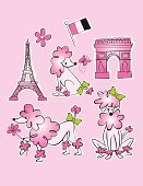 Poodle,Eiffel Tower,French Culture,Pink Color,Paris - France,Butterfly - Insect,Arc de Triomphe,Dog,Bow,Bow,Pets,Travel,Animal,Single Flower,Hair Bow,Springtime,European Culture,Flag,Monument,Tied Knot,Standing,Green Color,Sitting,Fifi,Femininity,Walking,Europe
