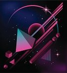 1980s Style,Image Created 1980s,Backgrounds,Triangle,Geometric Shape,Abstract,Retro Revival,Futuristic,Striped,Pyramid Shape,Design,Computer Graphic,Star - Space,Shape,Cube Shape,Pink Color,Black Color,Art,Vector,Color Gradient,Modern,Star Shape,Vibrant Color,Circle,Sphere,Cool,Blue,Magenta