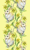Vertical,Flower,Daffodil,Craft,Art And Craft,Plant,Art,Animal,Cute,Painted Image,Holiday - Event,Cheerful,Illustration,Nature,Leaf,Symbol,Animal Markings,Rabbit - Animal,Single Flower,Easter,Napkin,Happiness,Decoration,Botany,Season,Watercolor Paints,Blossom,Photography,Springtime,Pattern,White Color,Yellow