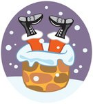 Santa Claus,Chimney,Stuck,Christmas,Roof,Clip Art,Boot,Winter,Celebration Event,Illustrations And Vector Art,Trapped,Snowing,Holiday,Ilustration
