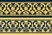 Renaissance,Baroque Style,Rococo Style,Seamless,Elegance,Vector,Leaf,Retro Revival,Old-fashioned,Ornate,Decoration,Blue,Clip Art,Wallpaper Pattern,Vector Ornaments,Vector Florals,Illustrations And Vector Art,Yellow