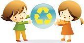 Recycling,Child,Environment,Little Girls,Little Boys,Pollution,Sphere,Healthy Lifestyle,Concepts And Ideas
