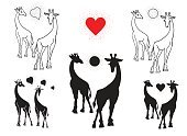 Love,Animal,Illustration,Giraffe,Vector