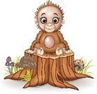 Intelligence,Humor,Monkey,Animal,Cute,Cartoon,Tropical Rainforest,Mammal,Ape,Animal Hair,Illustration,Nature,Mascot,Beast - Band,Hairy,Human Body Part,Animal Eye,Mushroom,Forest,Young Animal,K-pop,Animal Body Part,Primate,Tree,Grass,Fun,Vector,Human Face,Smiling,Facial Expression,Brown