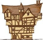 House,Tudor Style,Built Structure,Cartoon,Slum,Old-fashioned,Vector Cartoons,Homes,Architecture And Buildings,Illustrations And Vector Art