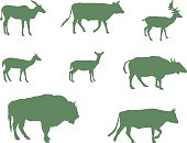 Silhouette,No People,Deer,Safari,Sign,Animal Wildlife,Animal,Antelope,Wild West,Zoology,Cow,Mammal,African Buffalo,Animals In The Wild,Safari Animals,Illustration,Nature,Zoo,Icon Set,Computer Icon,Symbol,Doe,Isolated,Vector,American Bison