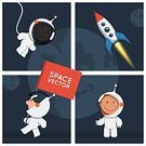 Child,Boys,Mid-Air,Space Travel Vehicle,Sign,Hello,Illustration,Planet - Space,Flying,Cosmonaut,Space,Astronaut,Small,Flag,Rocket,Welcome Sign,Vector,Space Suit,Red