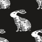 Abstract,Flower,Computer Graphics,Background,Plant,Doodle,Animal,Beauty,Monochrome,Beautiful People,Animals In The Wild,Illustration,Nature,Animal Markings,Rabbit - Animal,Easter,Computer Graphic,Seamless Pattern,Decoration,Monochrome,Backgrounds,Hare,Vector,Pattern,Floral Pattern,White Color,Black Color