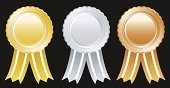 Gold Colored,Gold Medal,Gold,Silver Colored,Silver - Metal,Bronze,Bronze,Medal,Award,Award Ribbon,Ribbon,Silver Medal,Honor,Winning,Vector,Sport,Number 2,Success,Number 3,Challenge,Objects/Equipment,Illustrations And Vector Art,Three Object,Competition