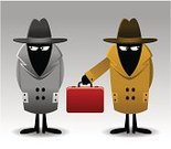 Spy,Mystery,Secrecy,Detective,Conspiracy,Cartoon,Suspicion,Inspector,Ilustration,Suitcase,Vector,Hat,Red,Coat,Illustrations And Vector Art,Concepts And Ideas
