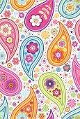 Paisley,Pink Color,Single Flower,1940-1980 Retro-Styled Imagery,Pattern,Daisy,Orange Color,Vector,Blue,Floral Pattern,Wallpaper Pattern,Purple,Yellow,Green Color,Drawing - Art Product,Youth Culture,Funky,Vector Florals,Vector Backgrounds,Illustrations And Vector Art,Ornate,Ilustration