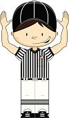 Referee,Child,Sport,Touchdown,Vector,American Football - Sport,Cartoon,Ilustration,Characters,Baseball Cap,Clip Art,One Person,Fun,Funky,Striped,Cute,Button Down Shirt,Sports Clothing,Flag,Illustrations And Vector Art,Brown Hair,Isolated,Computer Graphic,People,Vector Cartoons,Sports And Fitness,Modern
