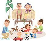 Child,60161,Laziness,Relaxation,Meeting,Toy,Illustration,Family,Parent,Sofa,Lifestyles,Vector,Smiling