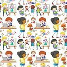 Child,Adult,Repetition,Boys,Men,Women,Computer Graphics,Artist,Background,Activity,Illustration,Student,Image,Writing,Reading,Technology,Computer Graphic,Seamless Pattern,Clip Art,Backgrounds,Vector,Computer,Pattern