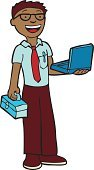 Toolbox,IT Support,Cartoon,Men,Eyeglasses,Symbol,Professional Occupation,Male,Repairman,Maintenance Engineer,Ilustration,Expertise,African Descent,Laptop,Vector,Illustrations And Vector Art,Vector Cartoons,Isolated,Computer Graphic,Characters,Tie,Design Element