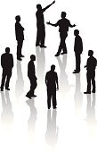 Silhouette,Men,People,Pointing,Thinking,Walking,Talking,Discussion,People,Business,Lifestyle
